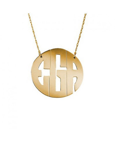 Hand Cut Block Font Monogram Necklace