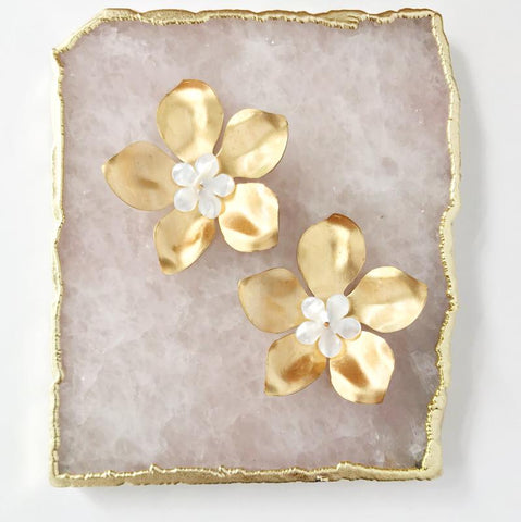 Large Gold Flower Earrings