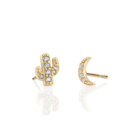 Pave Cactus Moon Studs