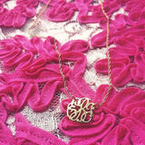 Hand Cut Lace Monogram Necklace