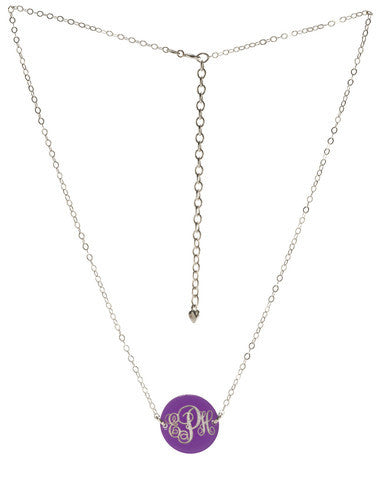 Acrylic Monogram Button Necklace