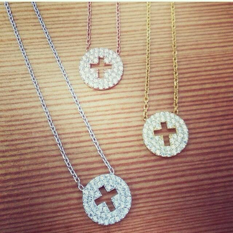 Tiny Cut Out Cross Disc Necklace