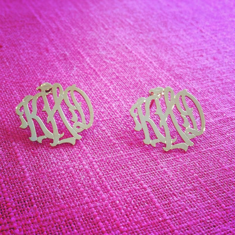 Lace Monogram Stud Earrings