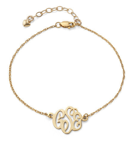 Custom Metal Cheshire Script Monogram Bracelet