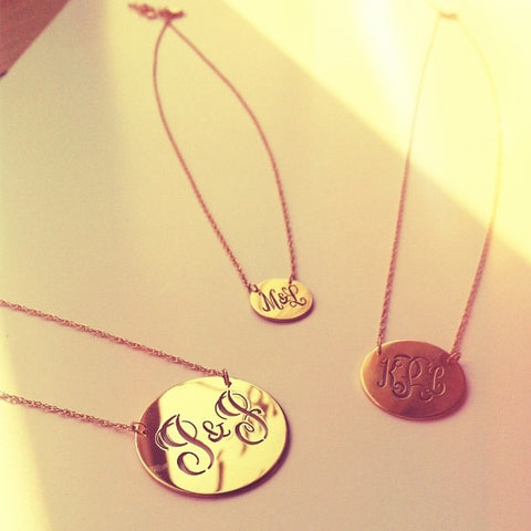 Pierced Monogram Disc Necklace
