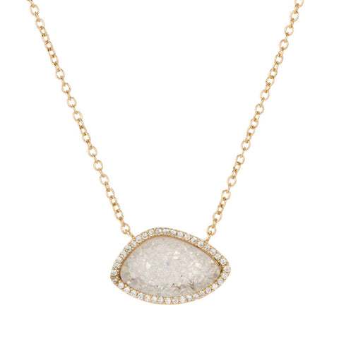 Santa Barbara White Druzy Necklace