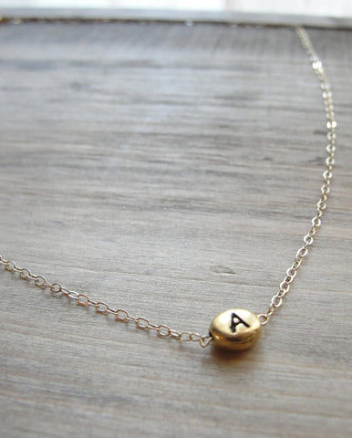 Tiny Bean Initial Necklace