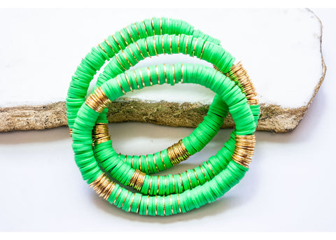 Kelly Green Vinyl Bracelets