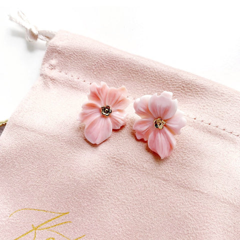 Pink Conch Flower Studs