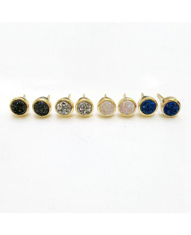 Tiny Round Druzy Stud Earrings