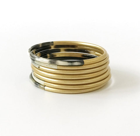 Shine Gold Horn Bangle Set