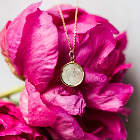 Engraved Disc Monogram Necklace