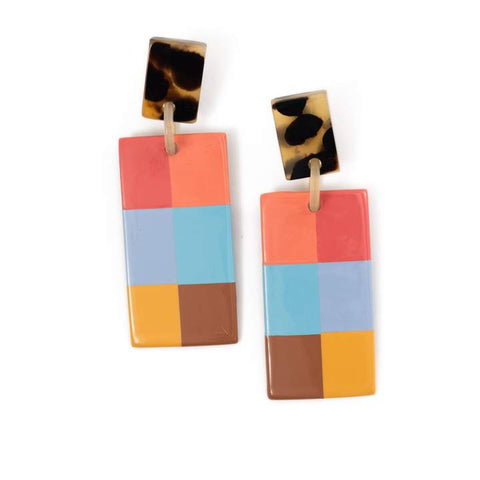 Plaid Cabana Horn Earrings