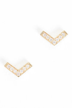 Tiny Pave Chevron Studs (More Metals)