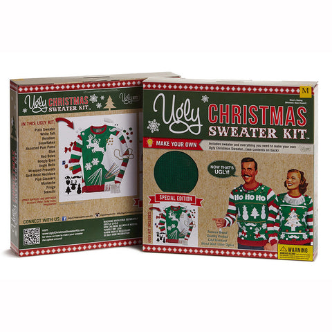 Ugly Christmas Sweater Kit - Green w/ Tri-Color Sleeves
