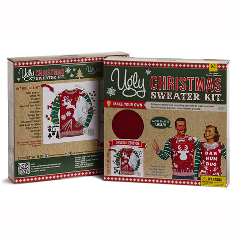 Ugly Christmas Sweater Kit - Red w/ Green & White Striped Sleeves