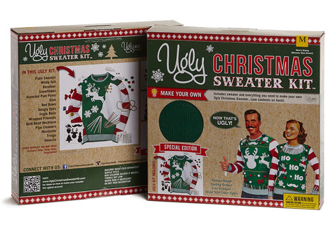 Ugly Christmas Sweater Kit - Green w/ Red & White Striped Sleeves
