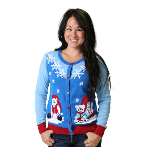 Women's Polar Bear Ugly Christmas Sweater Cardigan