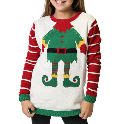 Women's Elf Ugly Christmas Sweater - White