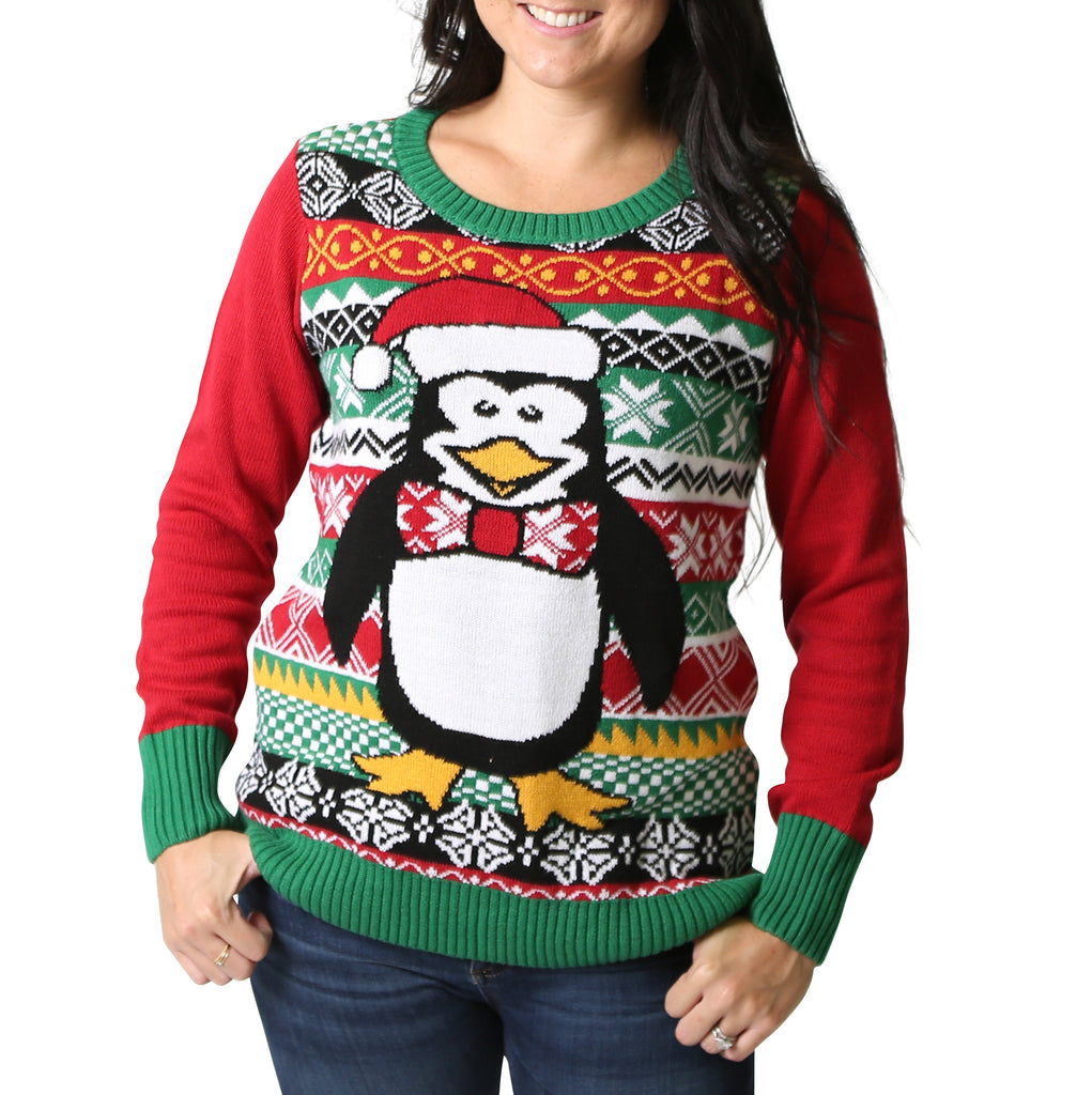 womens penguin light up ugly christmas sweater