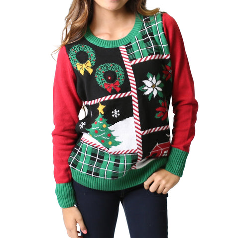 Women's Patchwork LIGHT UP Ugly Christmas Sweater