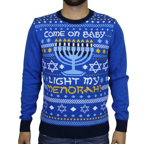 Hanukkuh 'Light My Menorah' Ugly Sweater