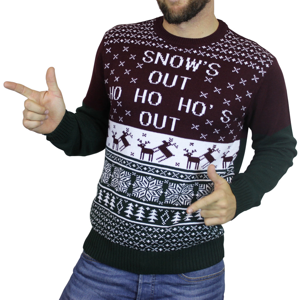 Snows Out Ho Ho Hos Out Ugly Christmas Sweater Maroongreen