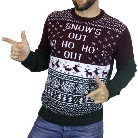 'Snow's Out Ho Ho Ho's Out' Ugly Christmas Sweater - Maroon/Green