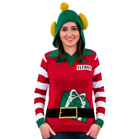 Women's Elf Ugly Christmas Sweater Hoodie