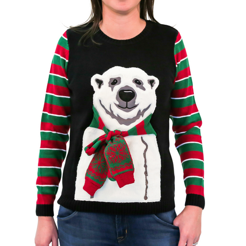 Women's Polar Bear w/ Scarf Ugly Christmas Sweater