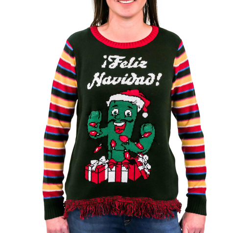 LIGHT UP! Women's Feliz Navidad Ugly Christmas Sweater