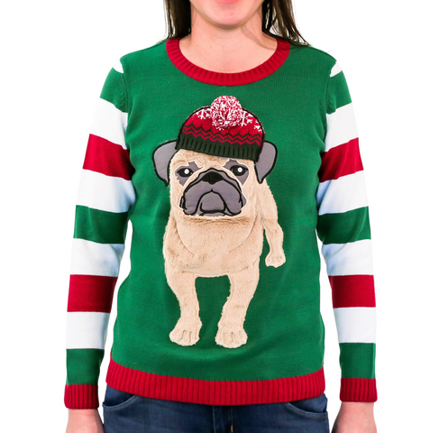Women's Furry Pug w/ Beanie Ugly Christmas Sweater