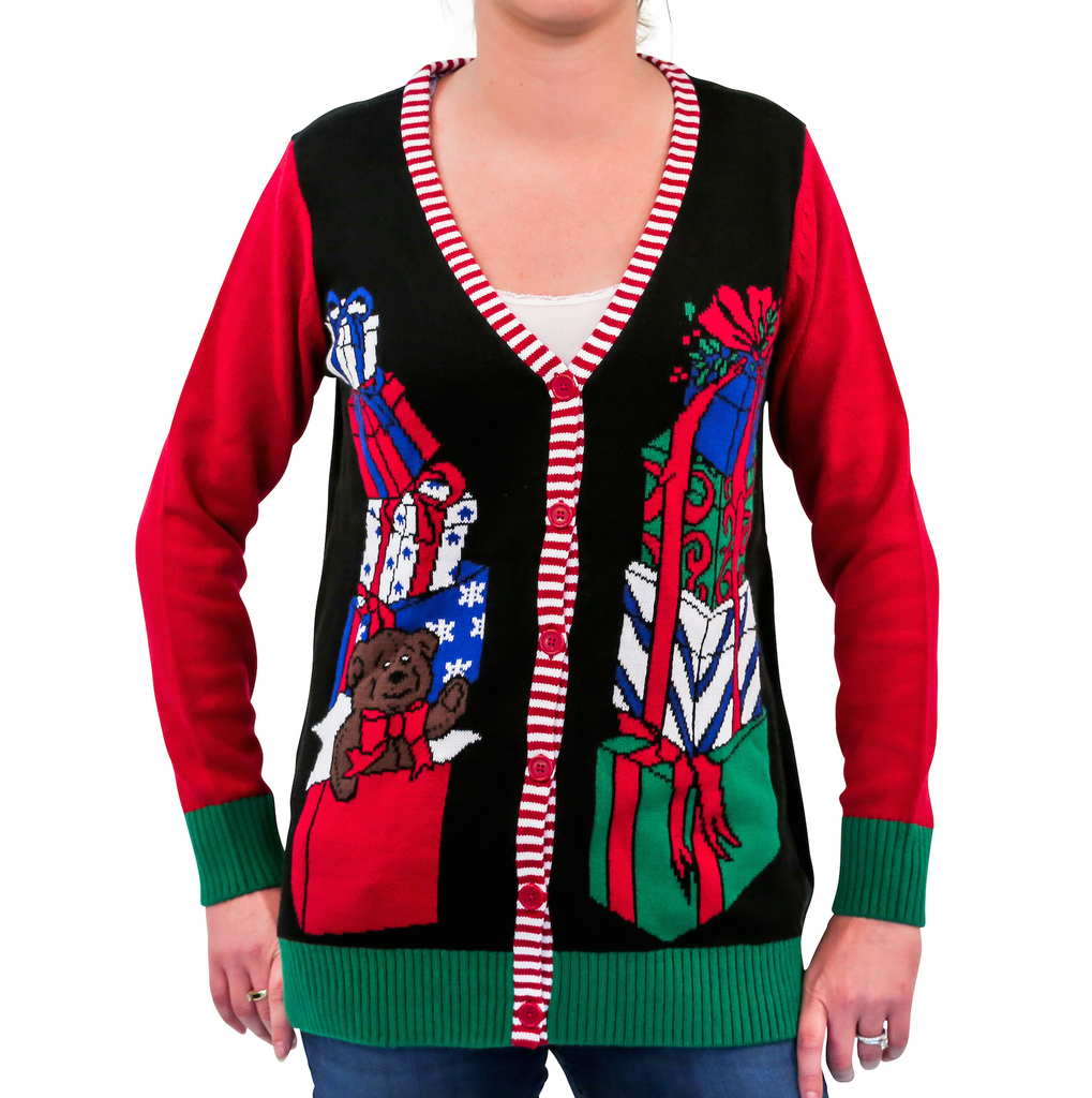 Womens Presents Ugly Christmas Sweater Cardigan Black Ugly