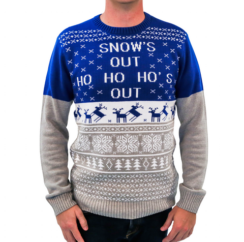 'Snow's Out Ho Ho Ho's Out' Ugly Christmas Sweater - Blue/Grey