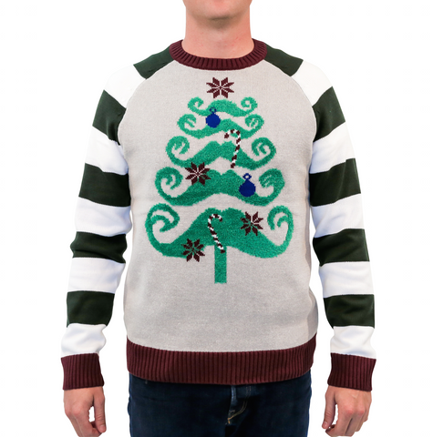 'Mustache Christmas Tree' Ugly Christmas Sweater - Grey/Green