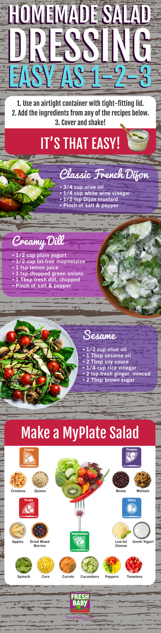 Home made salad dressing infographic from Fresh Baby