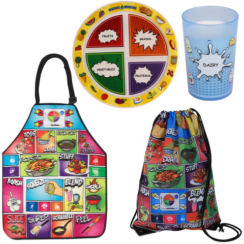 Comic Book MyPlate Dinnerware/Apron Set