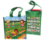 Fresh Baby's colorfully illustrated Kid's Farmer's Market Bag helps children associate fruits and vegetables with farm fresh goodness!