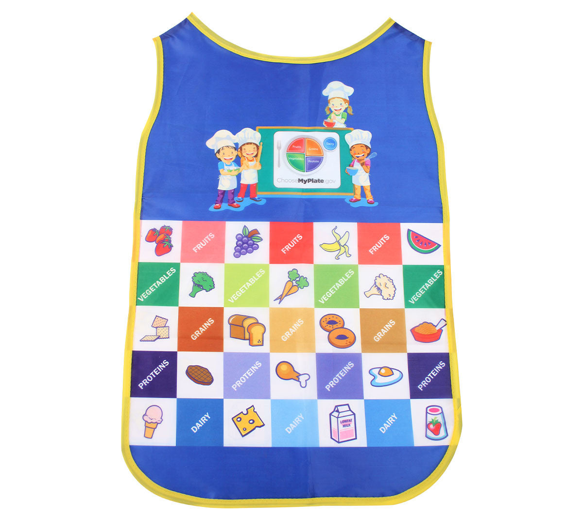 Fresh Baby's Kid's MyPlate Apron is perfect for little kitchen helpers. Young children enjoy helping prepare meals and their participation can result in better eating habits at the dinner table.