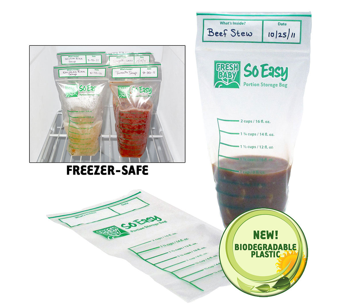 Fresh Baby's So Easy Portion Storage Bags are a simple storage solution! Freezer-safe food storage bags with measurement marks to help with portion sizes.
