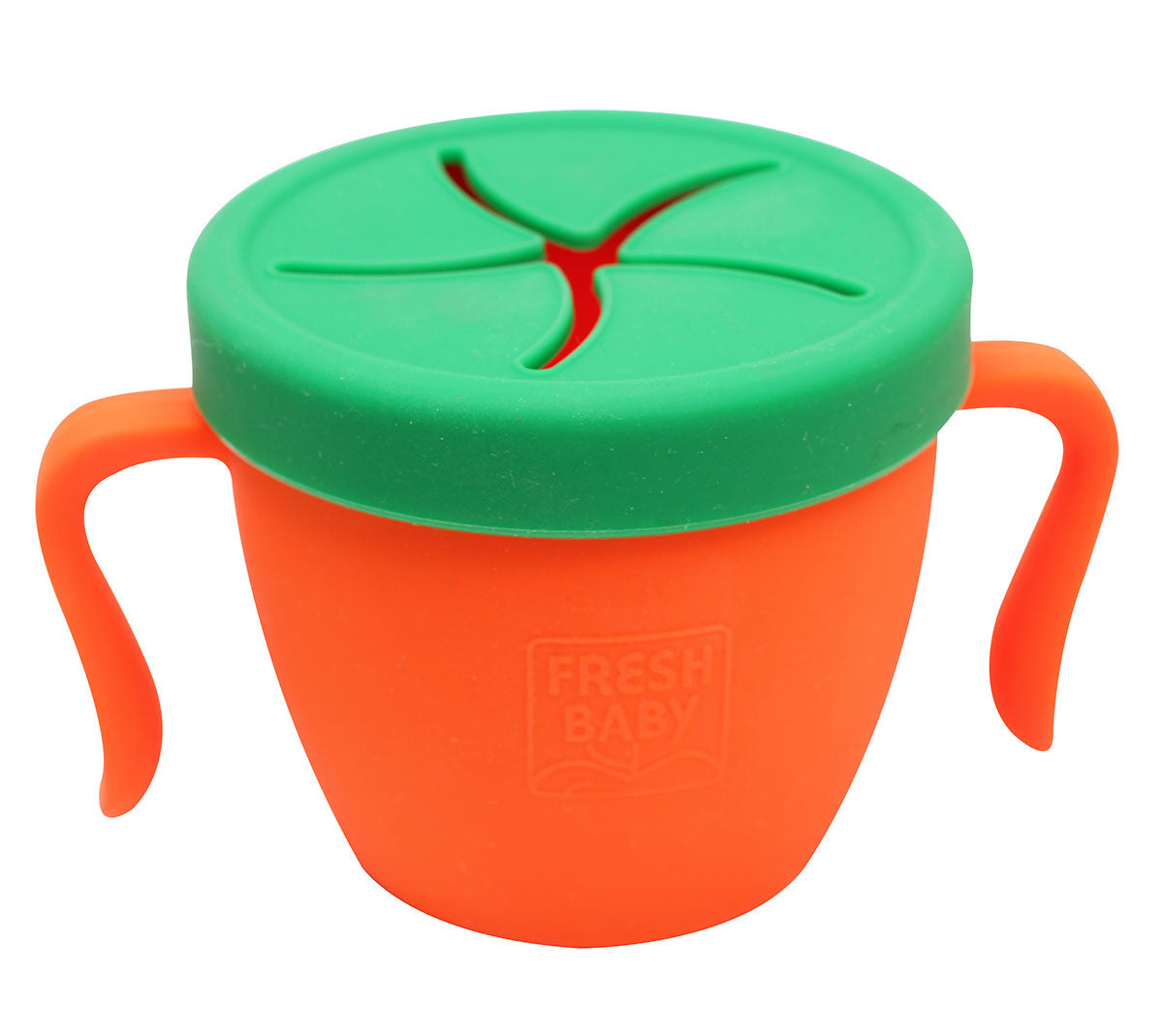 Fresh Baby's So Easy Snack Cup Fresh Baby's Snack Cup is a fun container for snacks at home or on the go. The soft silicone top has flaps for small fingers to reach snacks without worrying about spills.