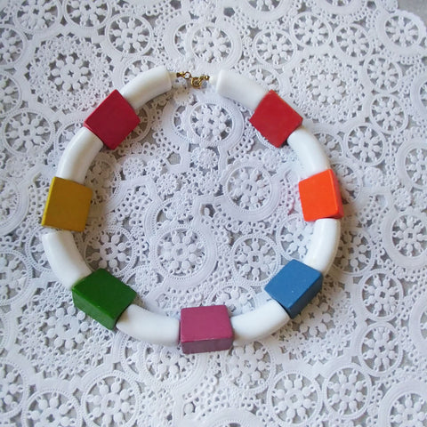 FROM MY OWN PERSONAL COLLECTION - VINTAGE '80 COLORFUL WOOD BLOCKS NECKLACE - PERFECT FOR SUMMER!