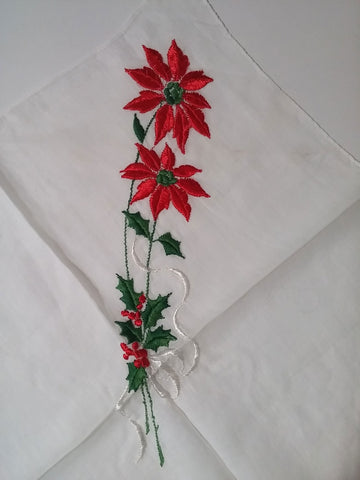 VINTAGE UNIQUE '50s/ '60s SCALLOPED FLOCKED CHRISTMAS POINSETTIAS WITH HOLLY BERRY LEAVES HANDKERCHIEF
