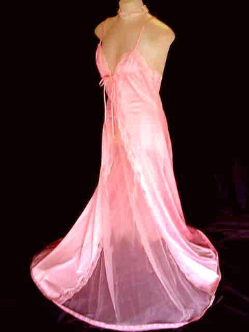 VINTAGE JENELLE SHEER & LACE NIGHTGOWN IN ENGLISH ROSE WITH A FABULOUS BACK - EXTRA LONG LENGTH