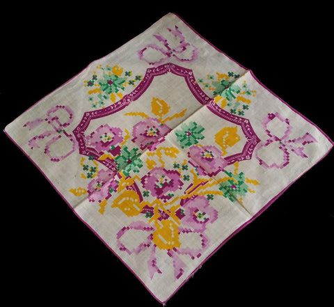 VINTAGE NEEDLEPOINT LOOK PANSEY BOUQUET HANDKERCHIEF