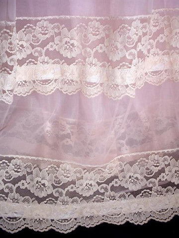 NEW WITH TAG - EXQUISITE VINTAGE MISS ELAINE DUCHESS PINK LACE & RIBBON DOUBLE NYLON PEIGNOIR & NIGHTGOWN SET