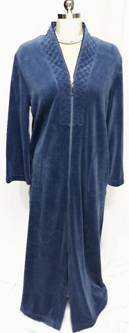 SOLD - NEW - DIAMOND TEA LUXURIOUS ZIP UP FRONT VELOUR ROBE IN INDIGO - SIZE SMALL
