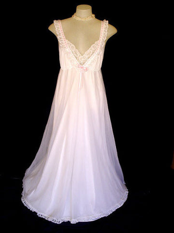 VINTAGE DREAMAWAY FRILLY BRIDAL FAIRY TALE LACE BRIDAL PEGNOIR & NIGHTGOWN SET