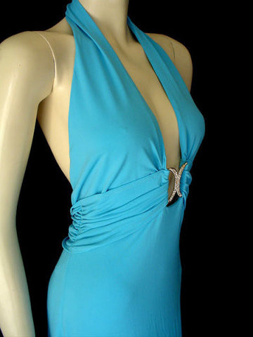 CACHE GODDESS PLUNGING HALTER EVENING GOWN WITH RHINESTONES - BEAUTIFUL BACKLESS BACK