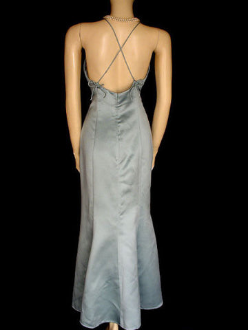 OLEG CASSINI SEAFOAM HALTER EVENING GOWN WITH MATCHING BOLERO JACKET - GORGEOUS CRISS CROSS BACK